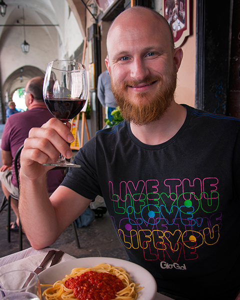 Daniel savouring the fantastic Italian fare on offer in Liguria, where his first feature is set
